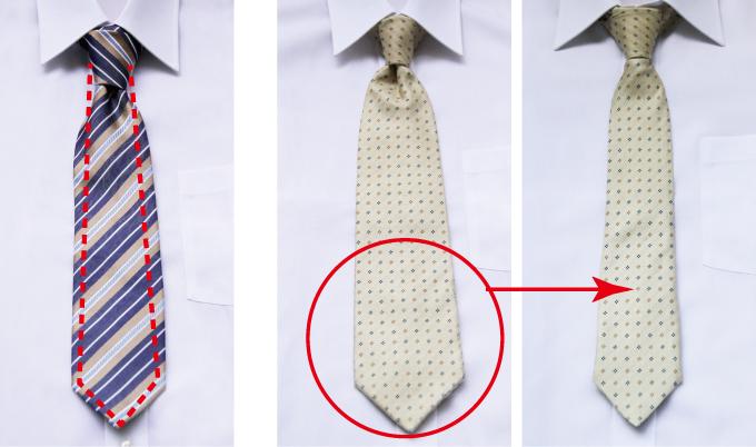 ネクタイの幅を細くする