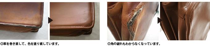革のかばんのお直しの画像です。革を巻き直して色を塗りなおした写真。角の破れを補修し、破れがわからなくなった写真。